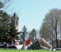 Studying on central campus at Iowa State University