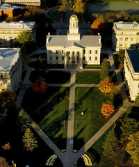 Aerial view of the Old Capital Building at the University of Iowa