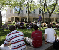 Holding class outside at the University of Northern Iowa