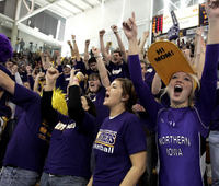 Students enjoying a basketball game at the University of Northern Iowa